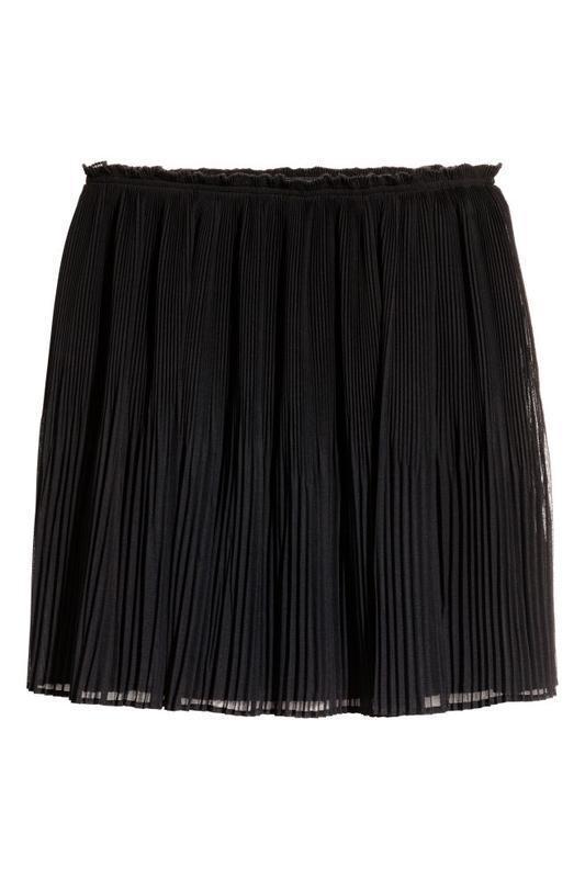🔥акция 1+1=3🔥h&m юбка черная плиссированная базовая размер 38 м