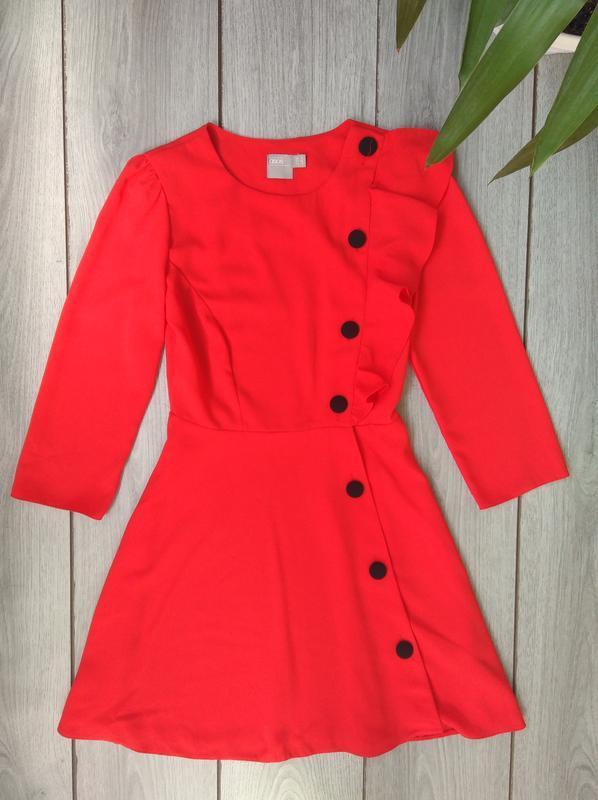 Asos платье тренд сезона с пуговицами красное яркое s 36 8