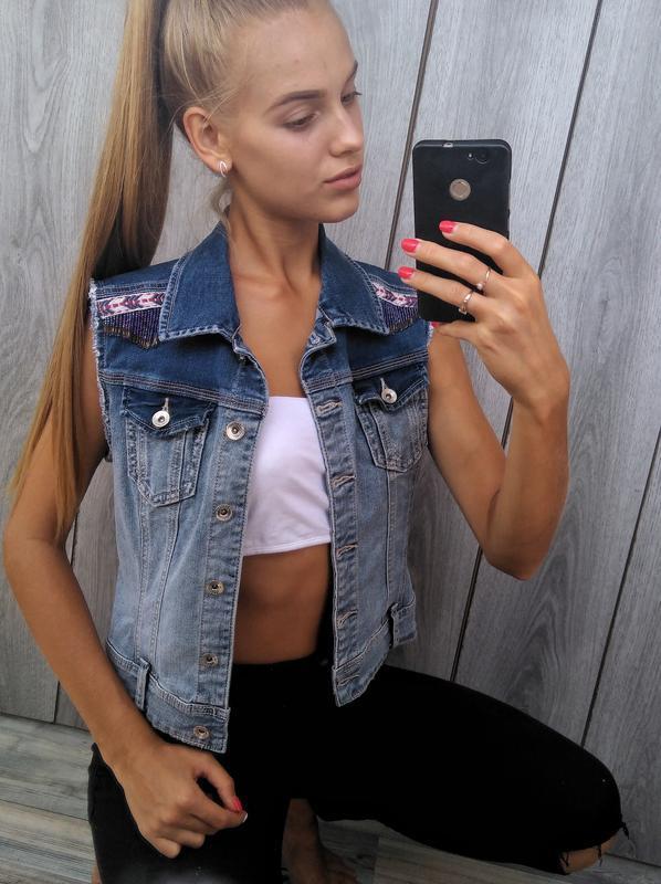 🔥акция 1+1=3🔥stradivarius джинсовая безрукавка джинсовка стиль...