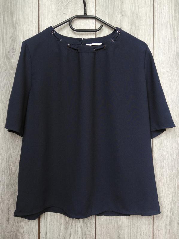 🔥акция 1+1=3🔥marks & spencer блузка синяя с красивой шнуровкой...