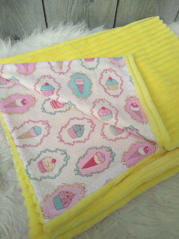 Новый minky минки плюш плед конверт одеяло мягкое жёлтое с рис... - Фото 2