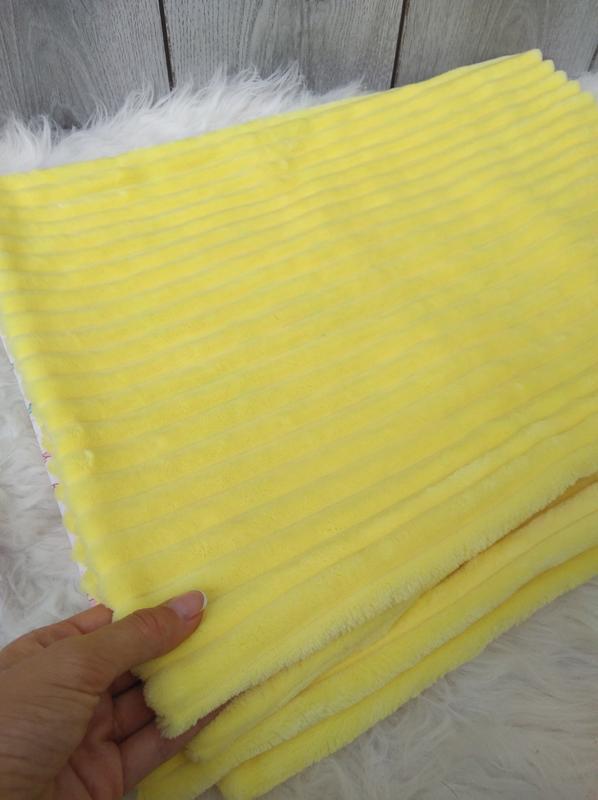 Новый minky минки плюш плед конверт одеяло мягкое жёлтое с рис... - Фото 3