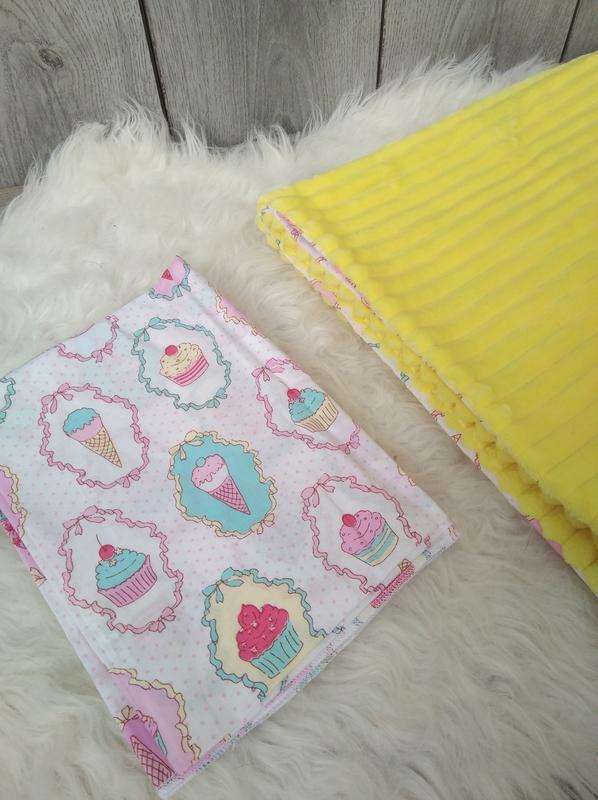 Новый minky минки плюш плед конверт одеяло мягкое жёлтое с рис... - Фото 4