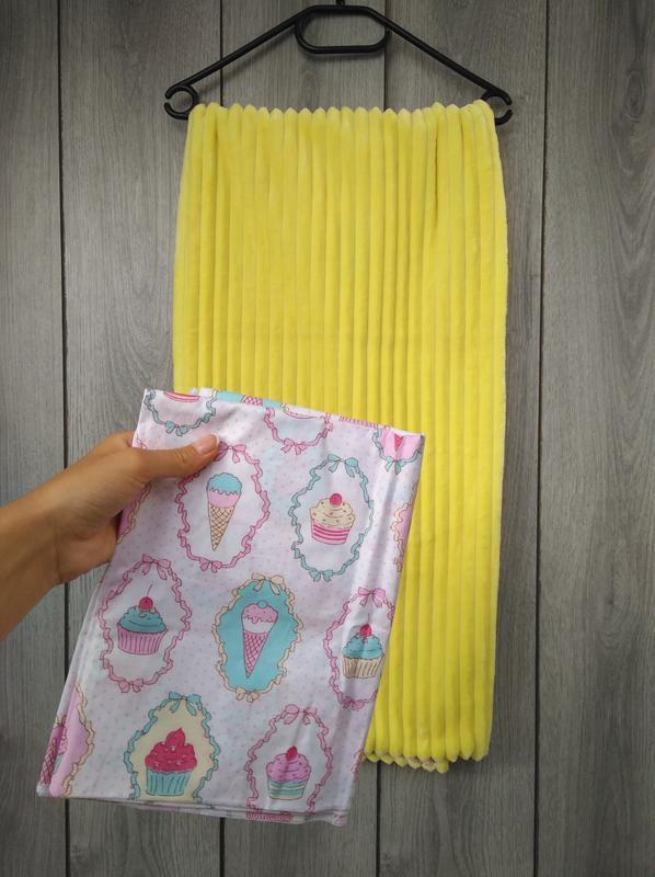 Новый minky минки плюш плед конверт одеяло мягкое жёлтое с рис... - Фото 7