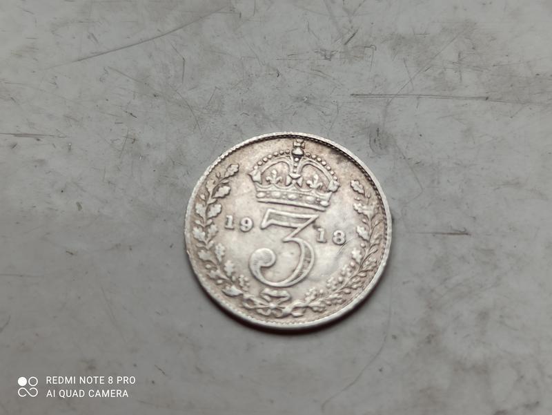 Великобритания. 3 пенса 1918 г. Георг V. Серебро 0.9250 .Оригинал