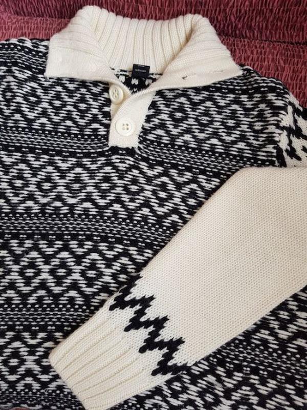 Теплый мужской свитер из мериносовой шерсти (размер 52)