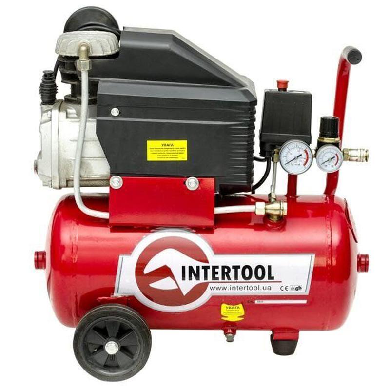 Компрессор INTERTOOL PT-0010 (24 л, 1.5кВт, 220В, 8атм, 206л/мин)