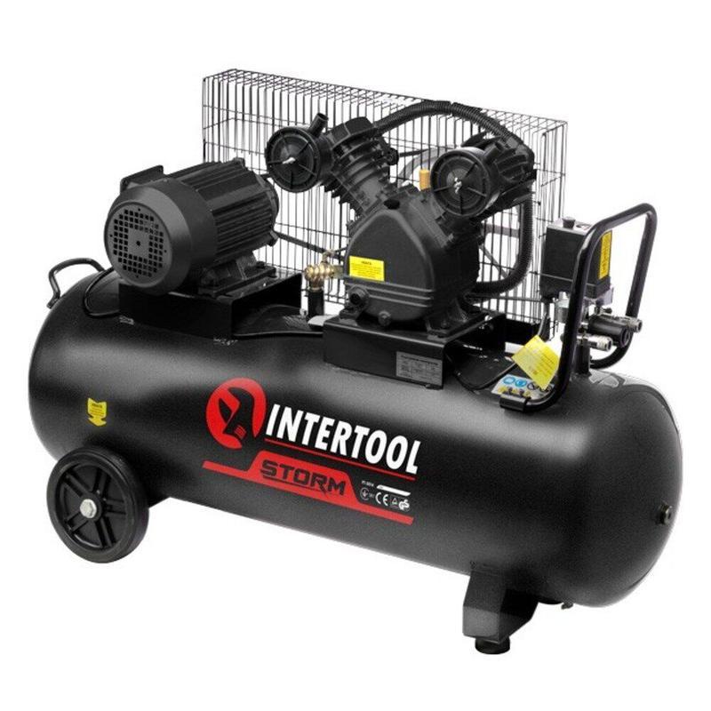 Компрессор INTERTOOL PT-0013 (100 л, 3 кВт, 380В, 8 атм, 500 л/м)