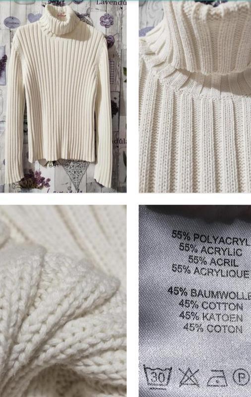 Белый свитер, гольф плотной вязки из хлопка!