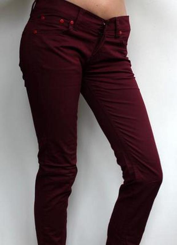 Летние штаны бургунд/ бордовые брюки/ брюки бордо / тонкие зау...