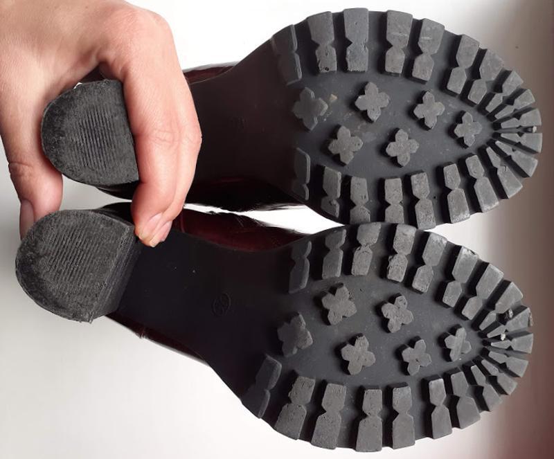 Бордовые лаковые ботинки на каблуке со шнуровкой atmosphere - Фото 5