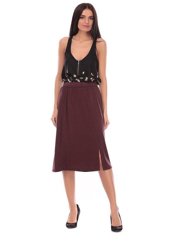 Длинная бордовая юбка zara