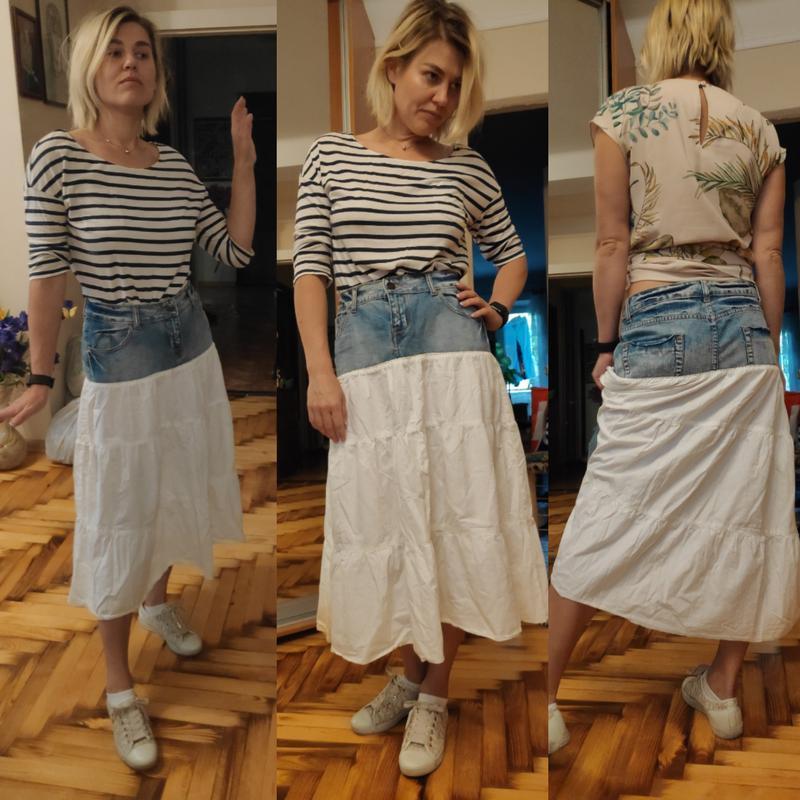 Джинсовая юбка с котоном рюшей воланом ретро винтаж