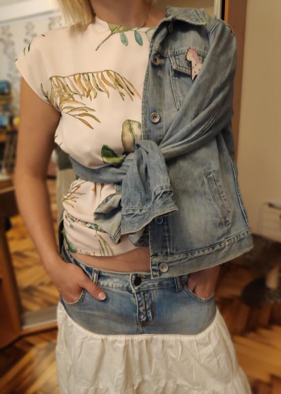 Джинсовая юбка с котоном рюшей воланом ретро винтаж - Фото 2