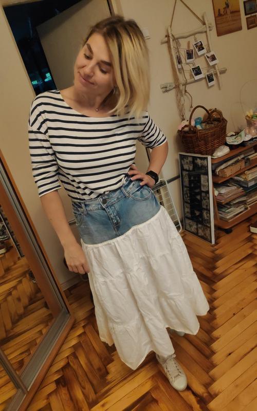 Джинсовая юбка с котоном рюшей воланом ретро винтаж - Фото 3