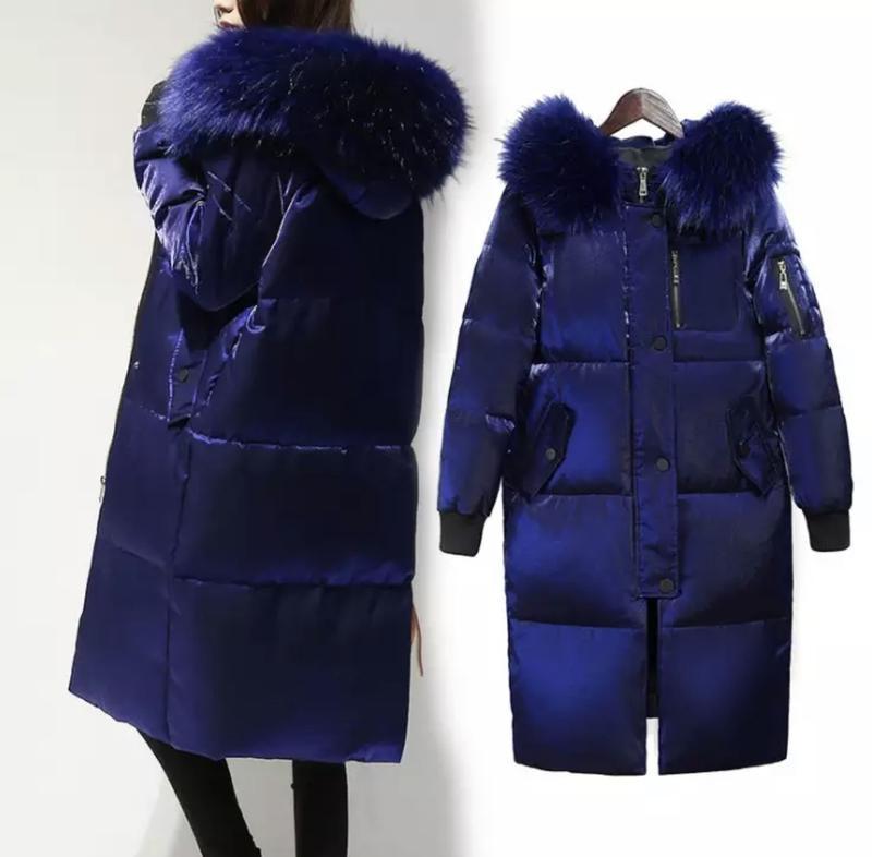 Пуховик, куртка зимняя женская блестящая с капюшоном