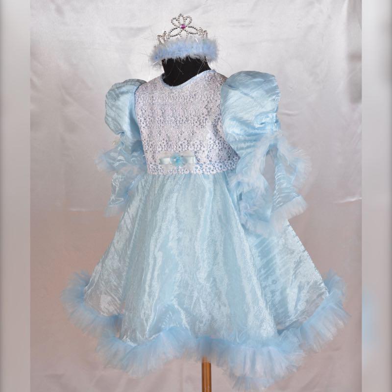 Карнавальный детское голубое платье 4-6 лет