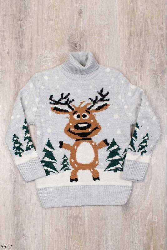 Детский свитер для мальчика с оленем 6-9 лет