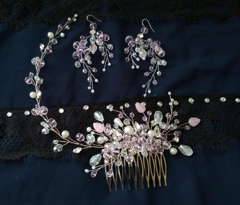 Свадебный комплект украшений серьги гребень украшение в прическу