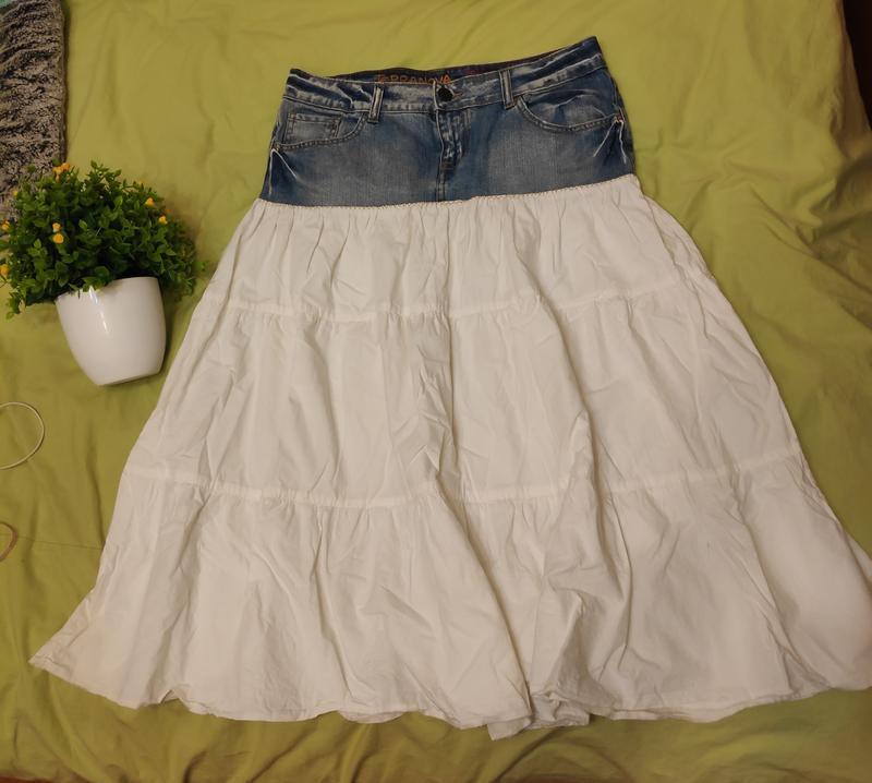 Джинсовая юбка с котоном рюшей воланом ретро винтаж - Фото 4