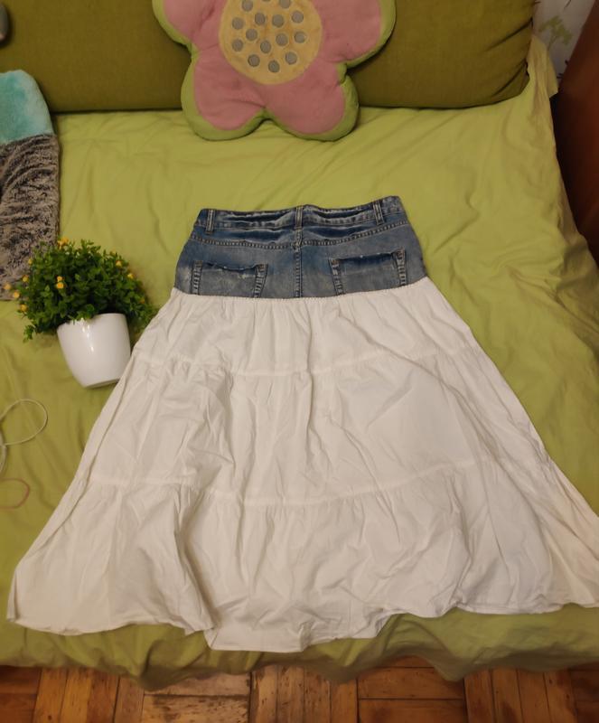 Джинсовая юбка с котоном рюшей воланом ретро винтаж - Фото 5