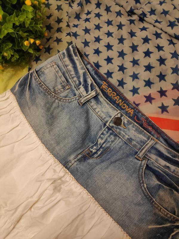 Джинсовая юбка с котоном рюшей воланом ретро винтаж - Фото 7