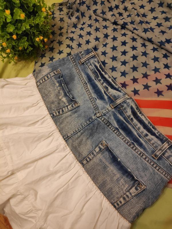 Джинсовая юбка с котоном рюшей воланом ретро винтаж - Фото 9