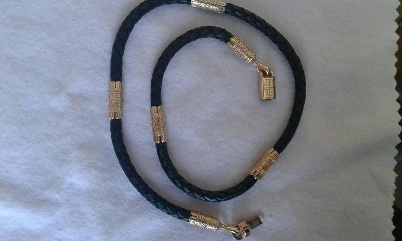 Кожаный шнур с серебряными перемычками - Фото 3