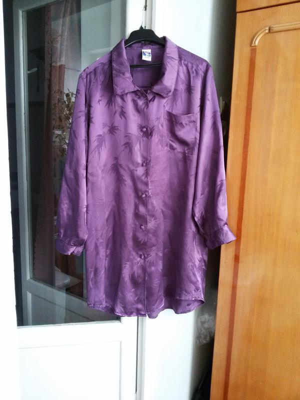 Длинная шелковая рубашка 100% шелк размер 44/46