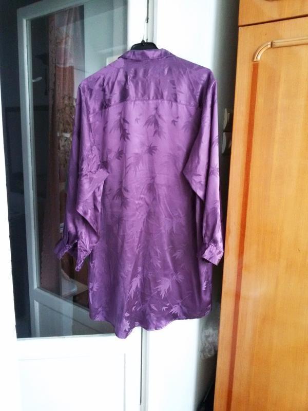 Длинная шелковая рубашка 100% шелк размер 44/46 - Фото 2