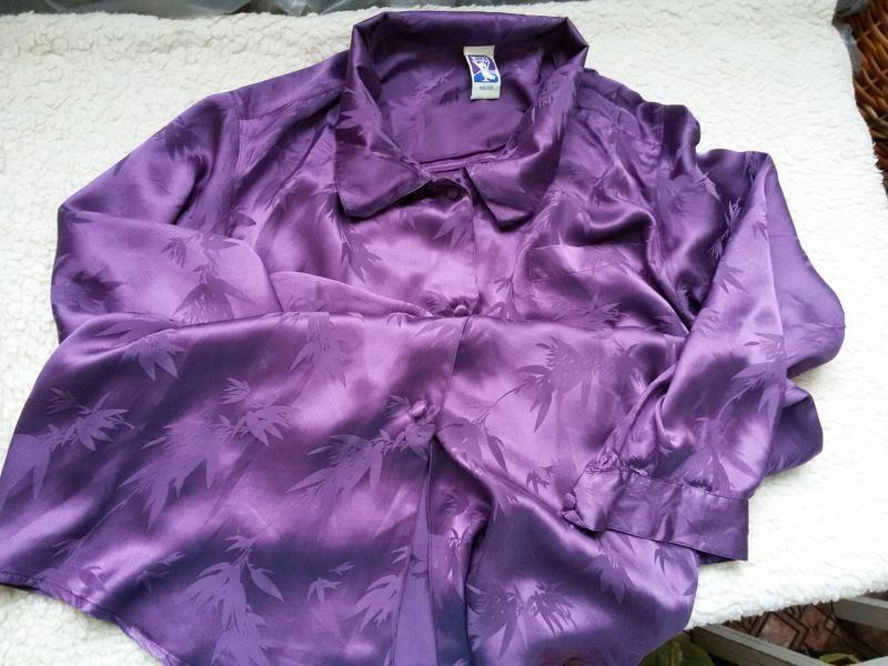 Длинная шелковая рубашка 100% шелк размер 44/46 - Фото 3