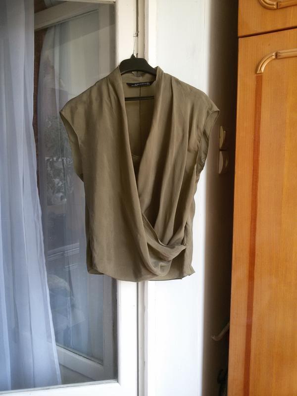 Шелковая блуза zara 100% шелк - Фото 4