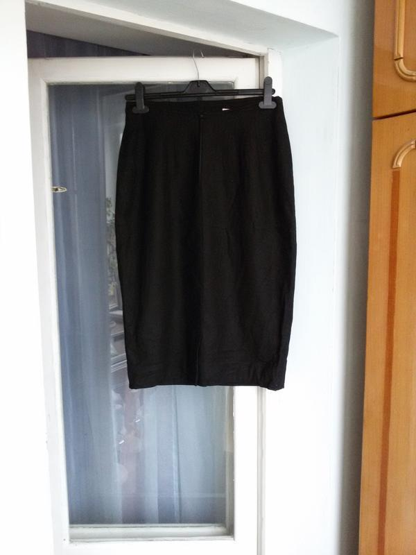Классическая черная юбка карандаш christian dior / шерсть, каш... - Фото 2
