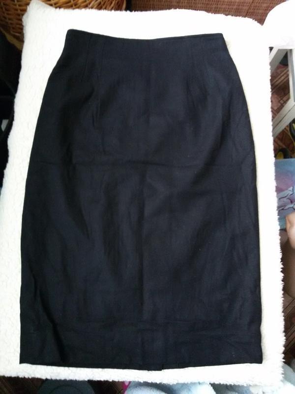 Классическая черная юбка карандаш christian dior / шерсть, каш... - Фото 3