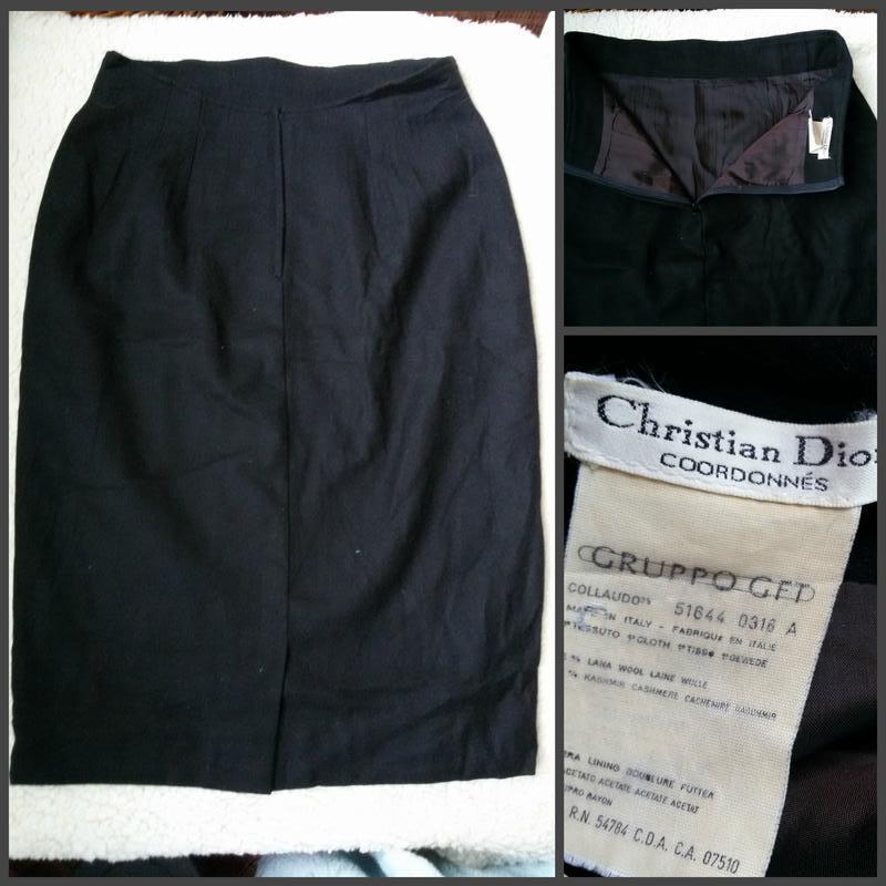 Классическая черная юбка карандаш christian dior / шерсть, каш... - Фото 4