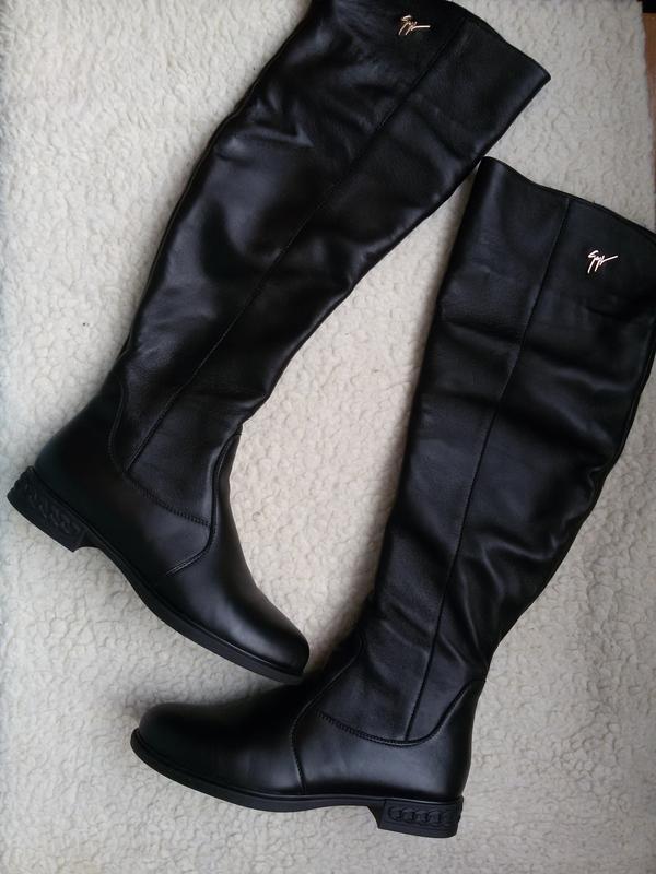 Зимние кожаные сапоги ботфорты 100% натуральная кожа