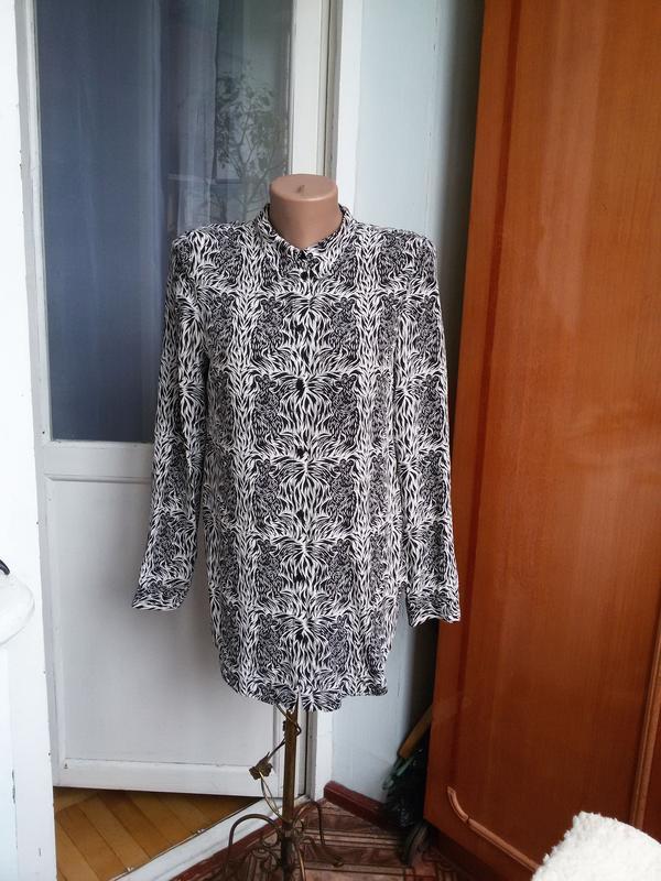 Стильная длинная шелковая рубашка в принт moods of norway 100%...