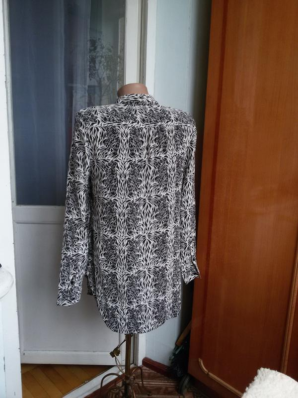 Стильная длинная шелковая рубашка в принт moods of norway 100%... - Фото 2
