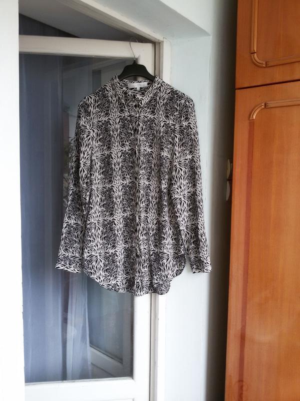 Стильная длинная шелковая рубашка в принт moods of norway 100%... - Фото 3