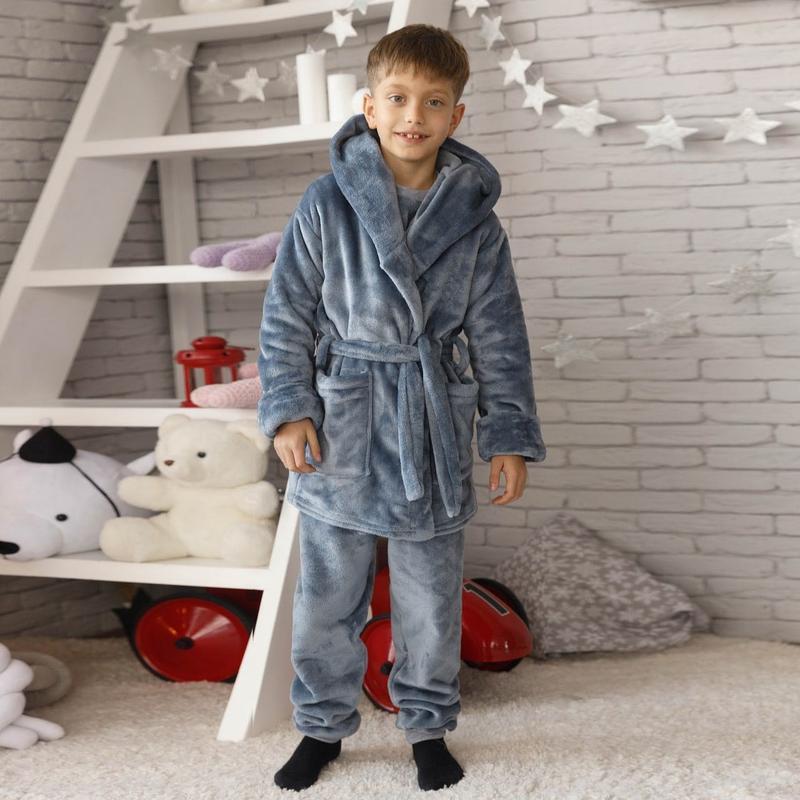 Mito велсофт плюш детская плюшевая пижама серая теплая с халат...