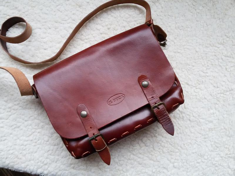 Кожаная сумка кросс боди ручная работа / il duca винтаж 100% кожа