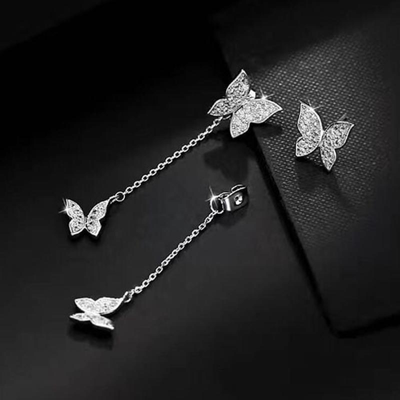 Шикарные серьги бабочки, покрытие серебро 925 пробы, цирконы