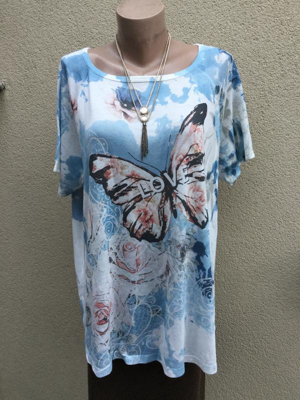 Трикотаж футболка,блуза-реглан,кофточка в принт бабочки,большо...