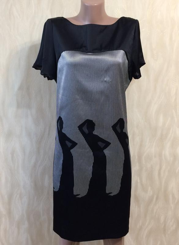 Платье прямого кроя в оригинальный принт zara basic, р.12-14_
