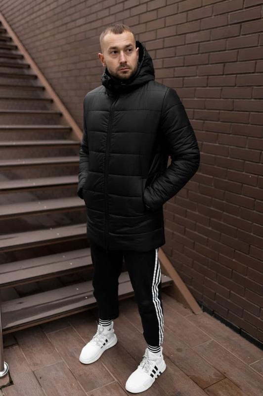 Мужская зимняя черная длинная куртка ???? теплая куртка до -20????ку...