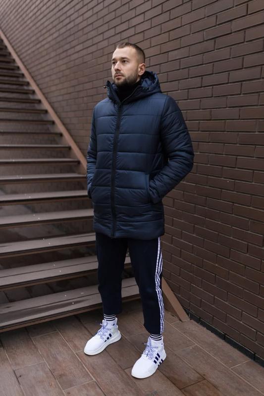 Мужская зимняя синяя длинная куртка ???? теплая куртка до -20????кур...