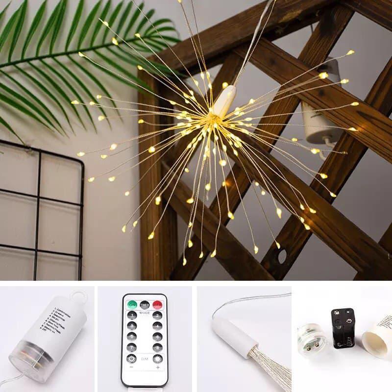 Светодиодная новогодняя гирлянда фонарь 200 LED Фейерверк пульт - Фото 5