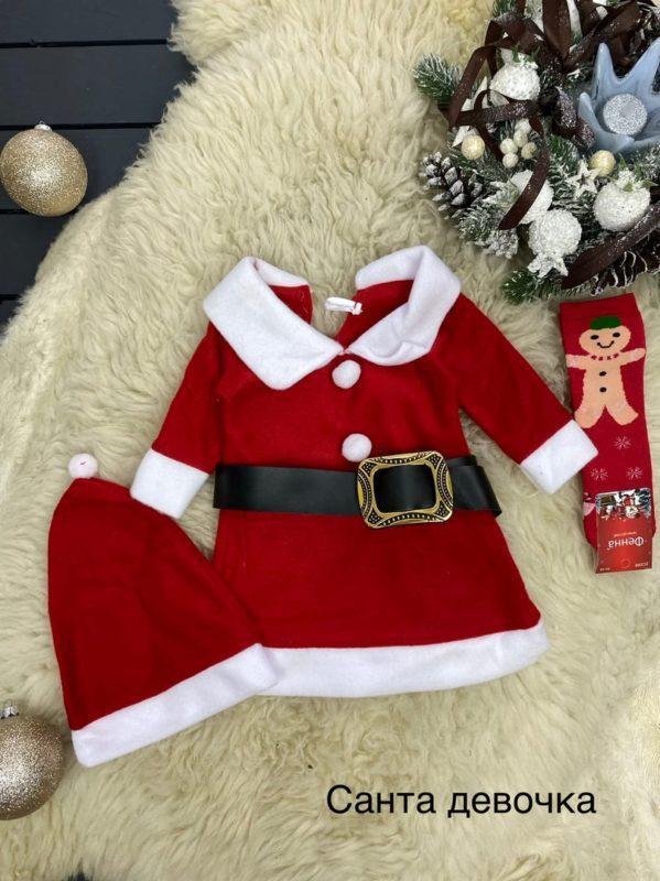 Новогоднее платье санта с колпаком 1-5 лет