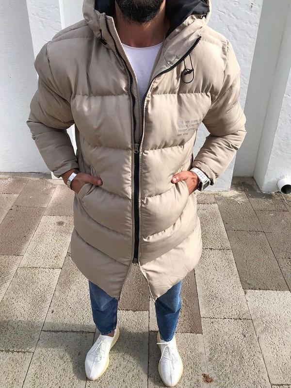 Мужская зимняя куртка бежевого цвета - Фото 4