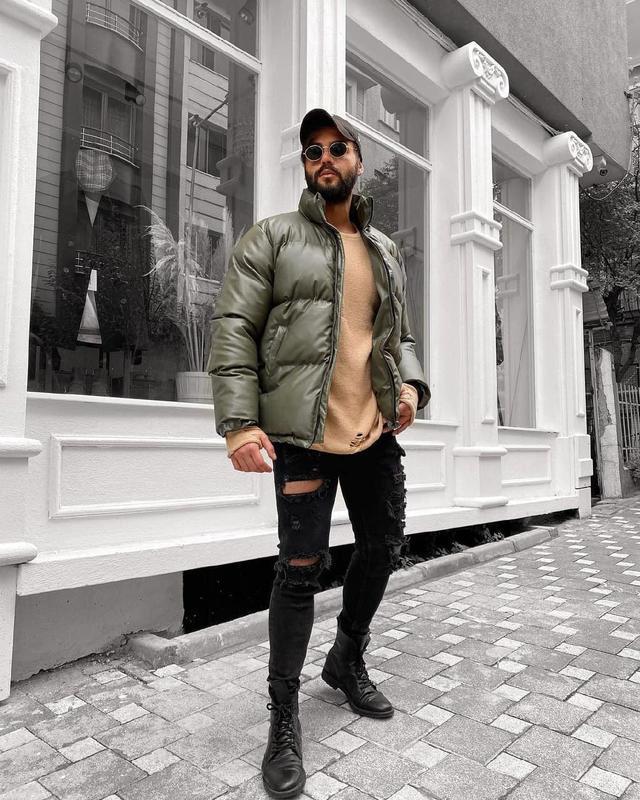 Мужская зимняя куртка цвета хаки - Фото 2